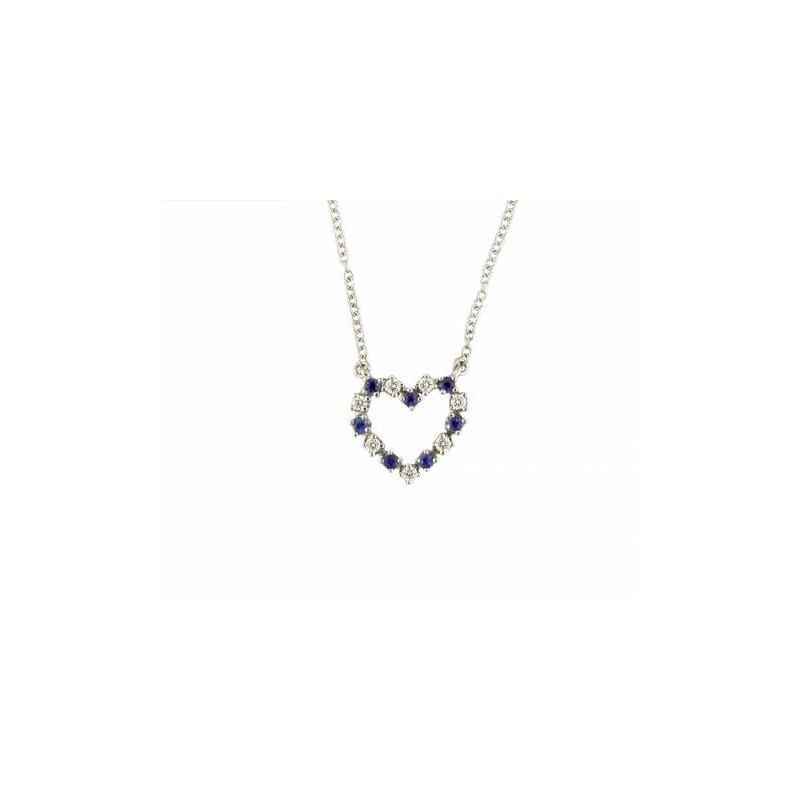 Sapphire and Diamond Open Heart Pendant