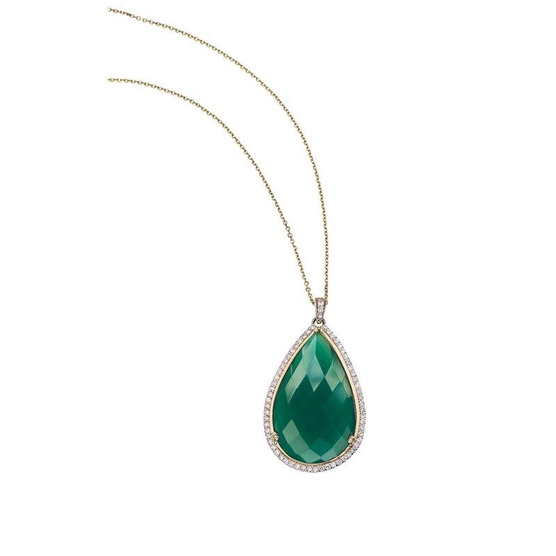 Green Onyx and Diamond Pendant