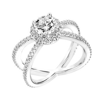 Diamond Princess Halo Engagement Ring with X Shape Diamond Shank