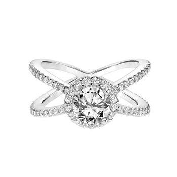 Diamond Princess Halo Engagement Ring with X Shape Diamond Shank