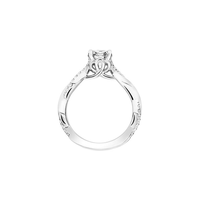 Diamond Prong Set Engagement Ring with Twisted Polished and Diamond Shank and Designed Gallery