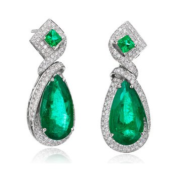 Custom Emerald and Diamond Ribbon Earrings