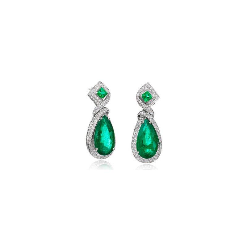 Custom Emerald and Diamond Ribbon Earrings
