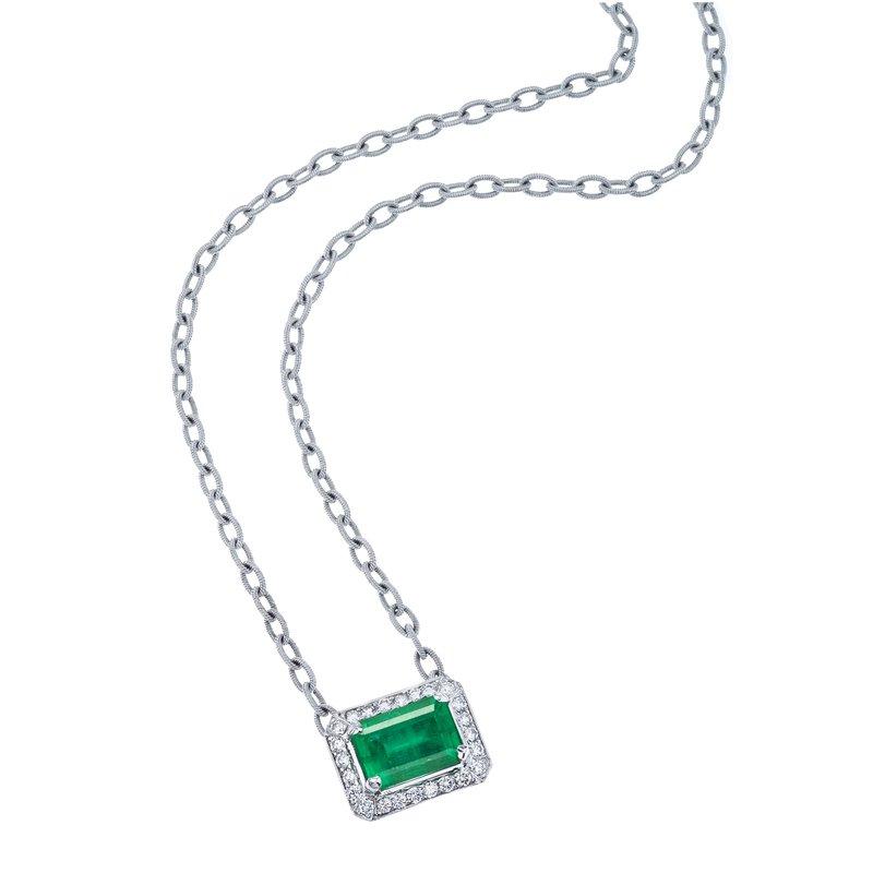 Emerald Cut Emerald & Diamond Pendant