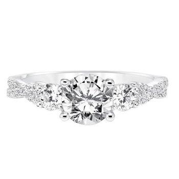 Elegant three diamond basket featuring a surprise diamond with diamond shank