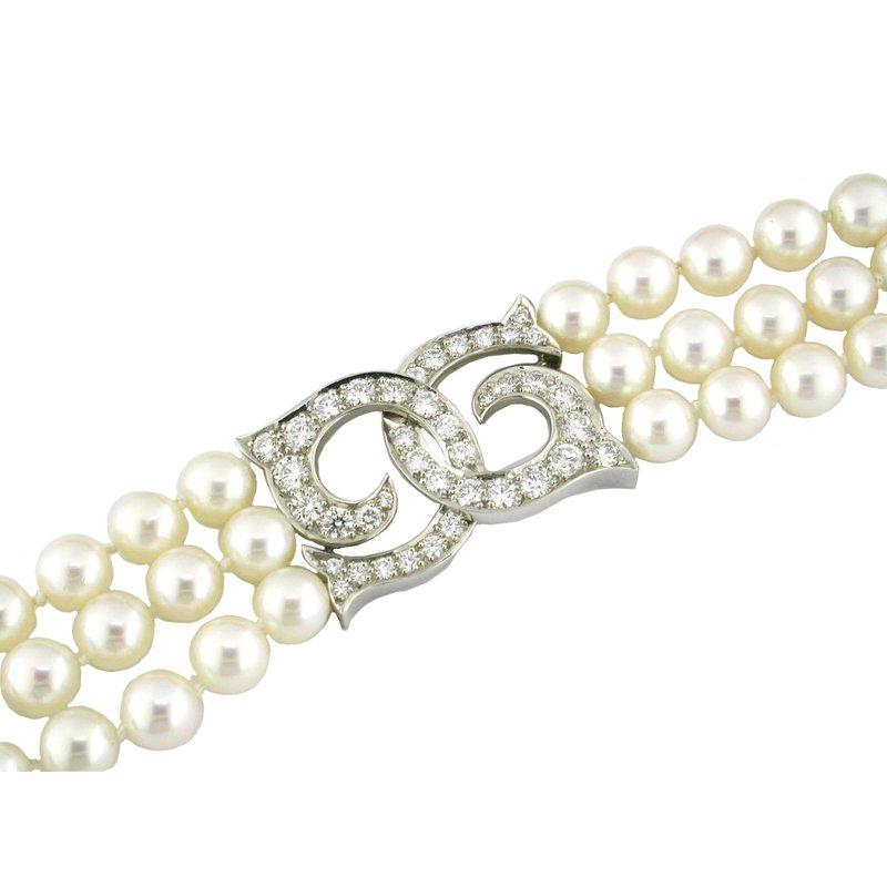 Triple Strand Pearl Bracelet with Diamonds