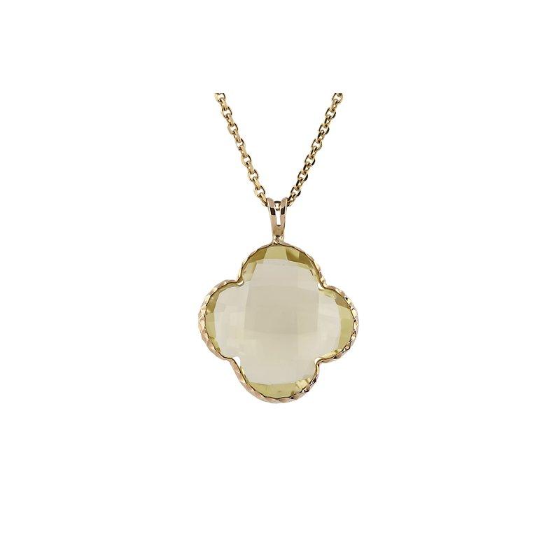 Lime Quartz Clover Necklace