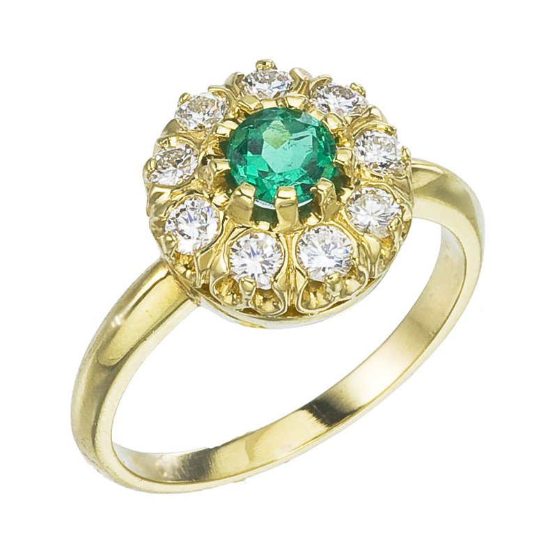 Vintage Styled Emerald and Diamond Ring