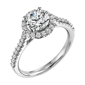 Diamond Prong Set Halo and Band Brilliant Engagement Ring