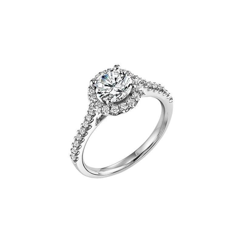 Diamond Prong Set Halo and Band Brilliant Engagement Ring