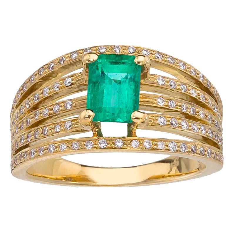 Emerald and Diamond Wide Band Ring