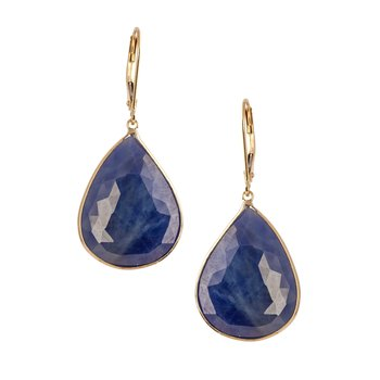 Sapphire Rough Slice Earrings