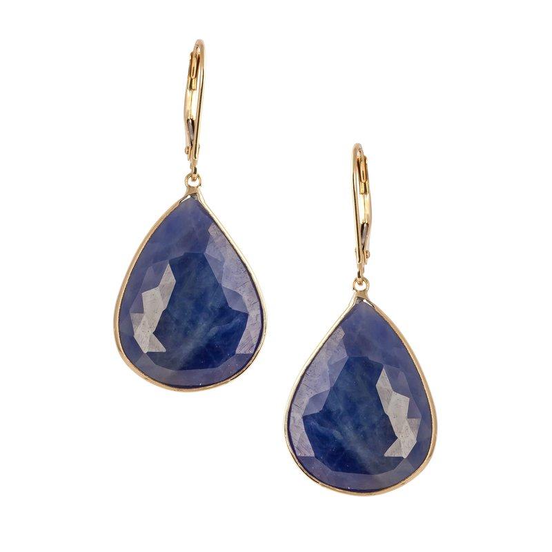 Sapphire Rough Slice Earrings