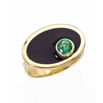Black Enamel and Emerald Ring