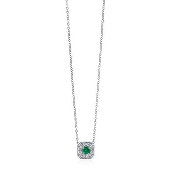 Square Emerald and Diamond Necklace