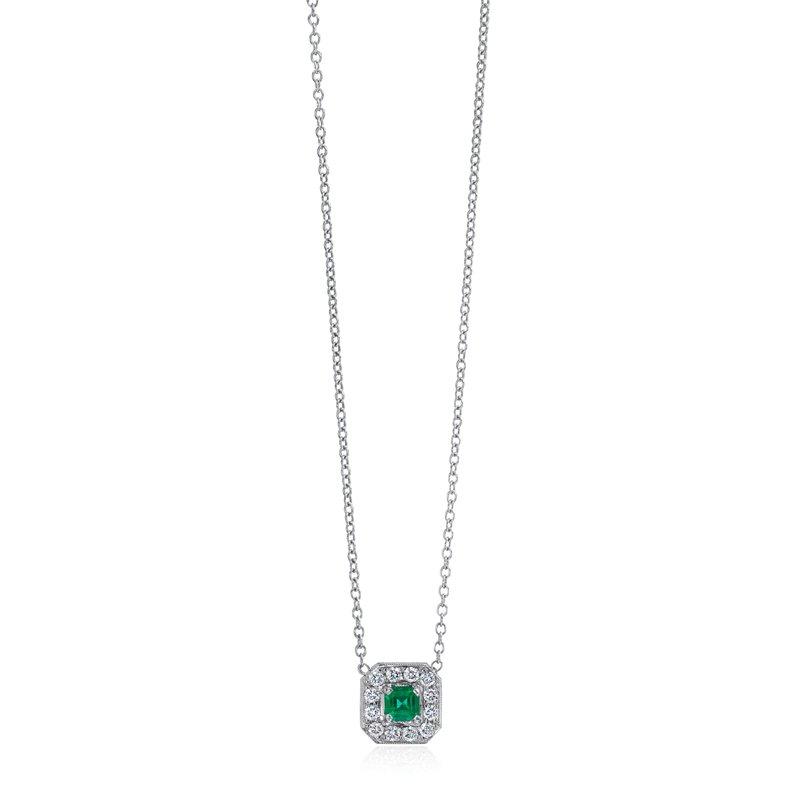 Square Emerald and Diamond Necklace