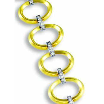 Beveled Gold Open Link Bracelet with Diamonds