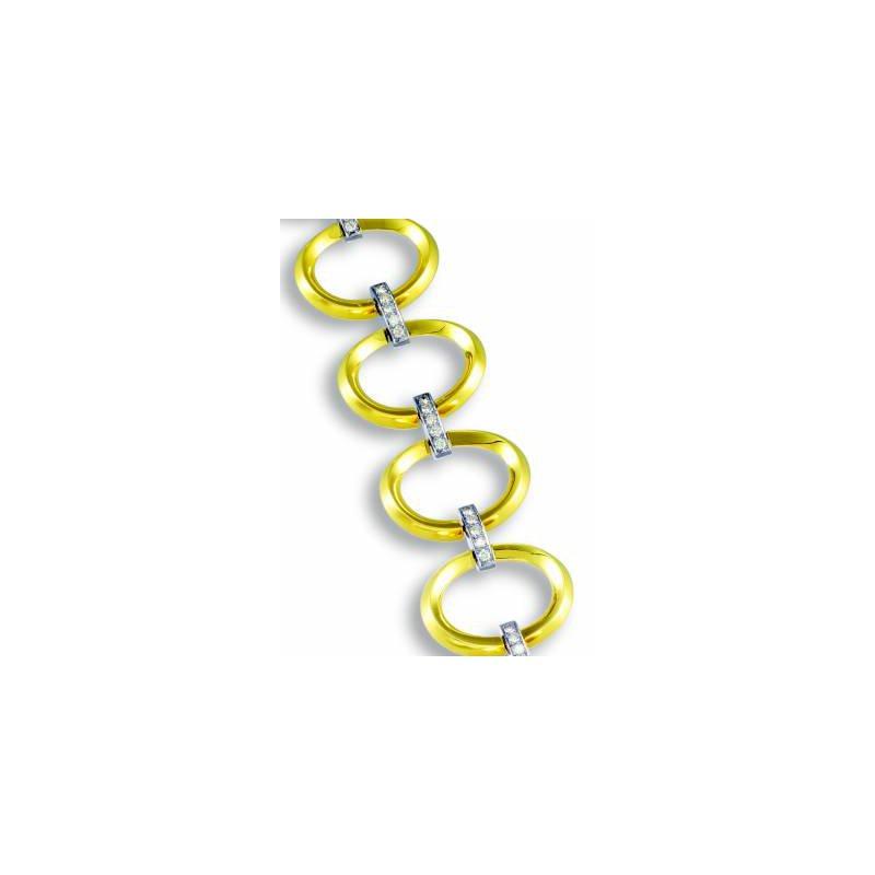 Beveled Gold Open Link Bracelet with Diamonds