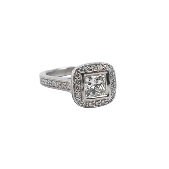 Platinum Diamond Engagement Ring with Halo