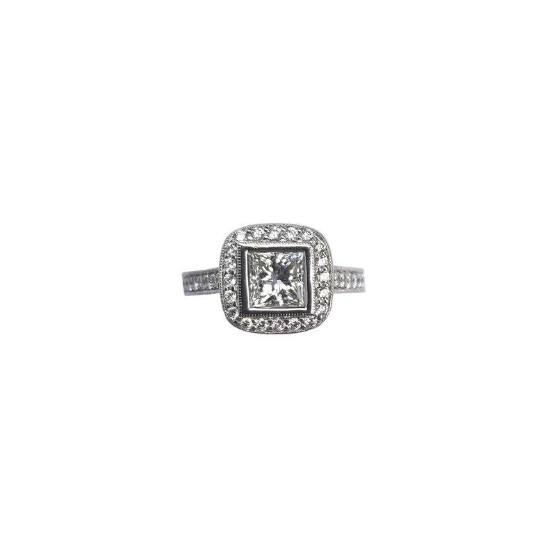 Platinum Diamond Engagement Ring with Halo