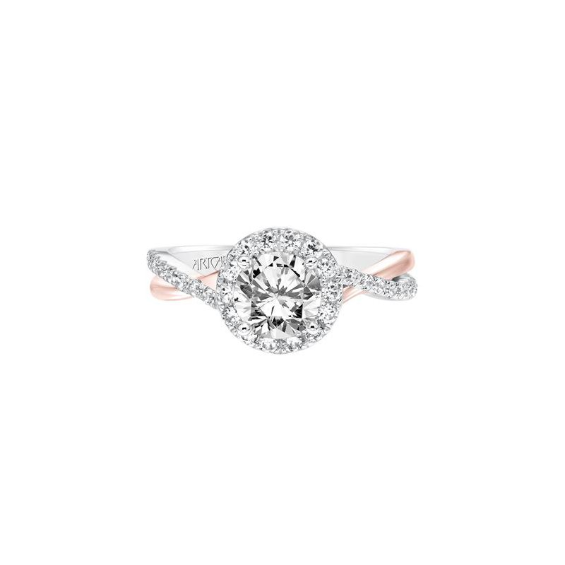 Contemporary Diamond Halo with Split Shank Engagement Ring