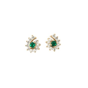 Emerald and Diamond Spiral Earring