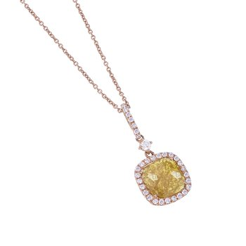 Diamond Pendant in Pink Gold