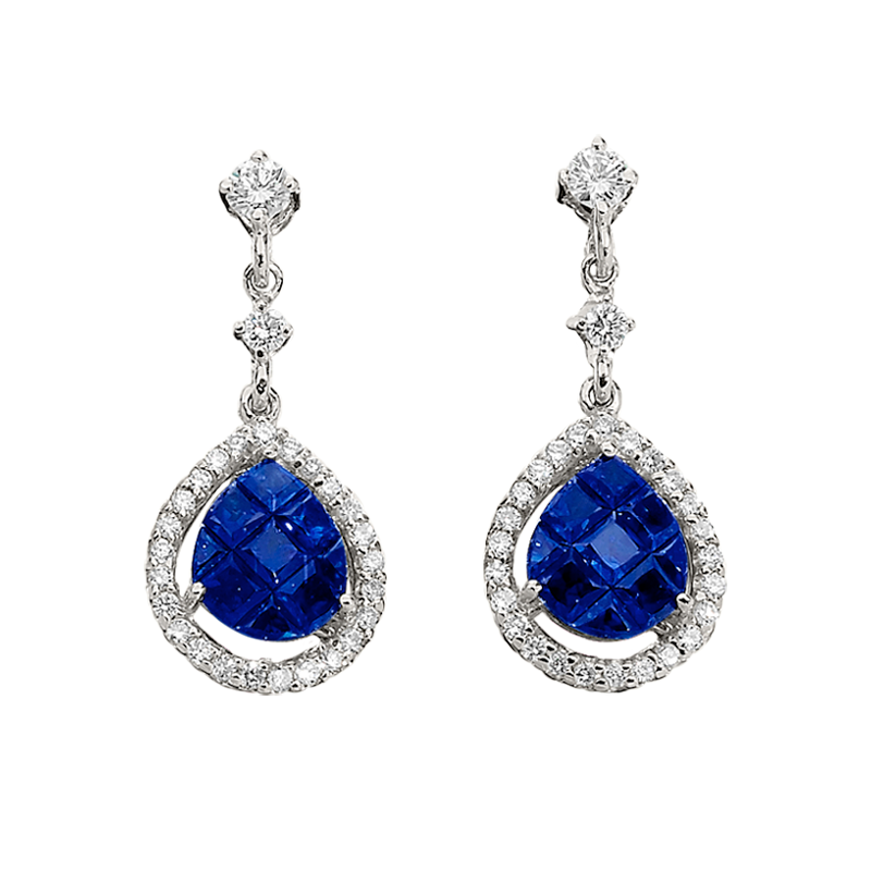 Invisibly Set Sapphire and Diamond Pendant