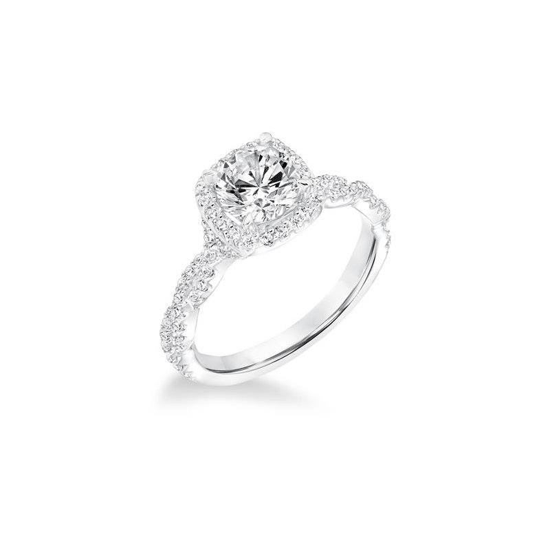 Diamond Halo Engagement Ring with Diamond Twisted Shank
