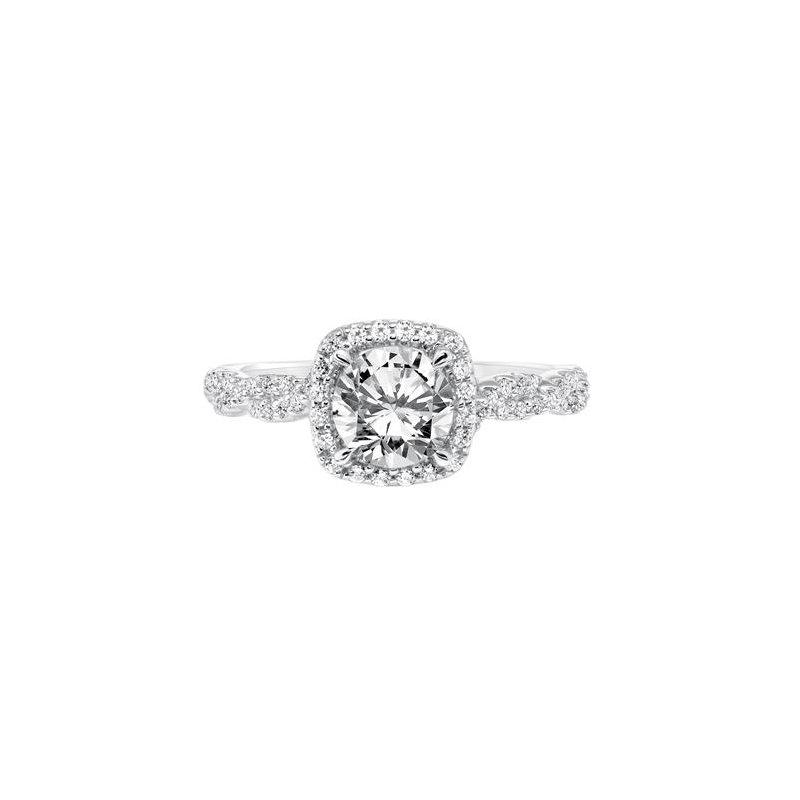 Diamond Halo Engagement Ring with Diamond Twisted Shank