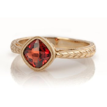 Lovely Garnet Ring with Engraved Band
