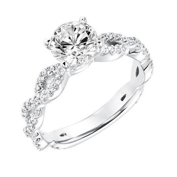 Diamond Prong Set with Twisted Diamond Shank Engagement Ring