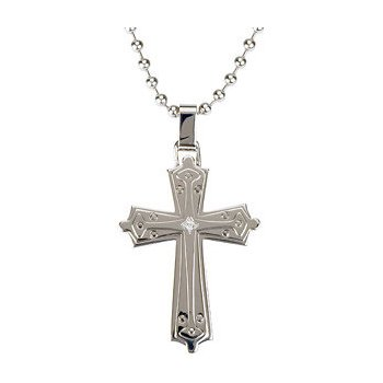 Stainless Steel Cross with Diamond