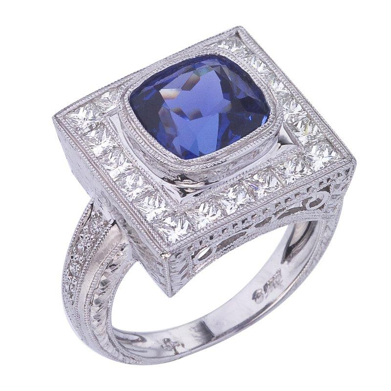Tanzanite Cushion and Diamond Ring