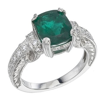 Cushion Cut Emerald and Diamond Ring