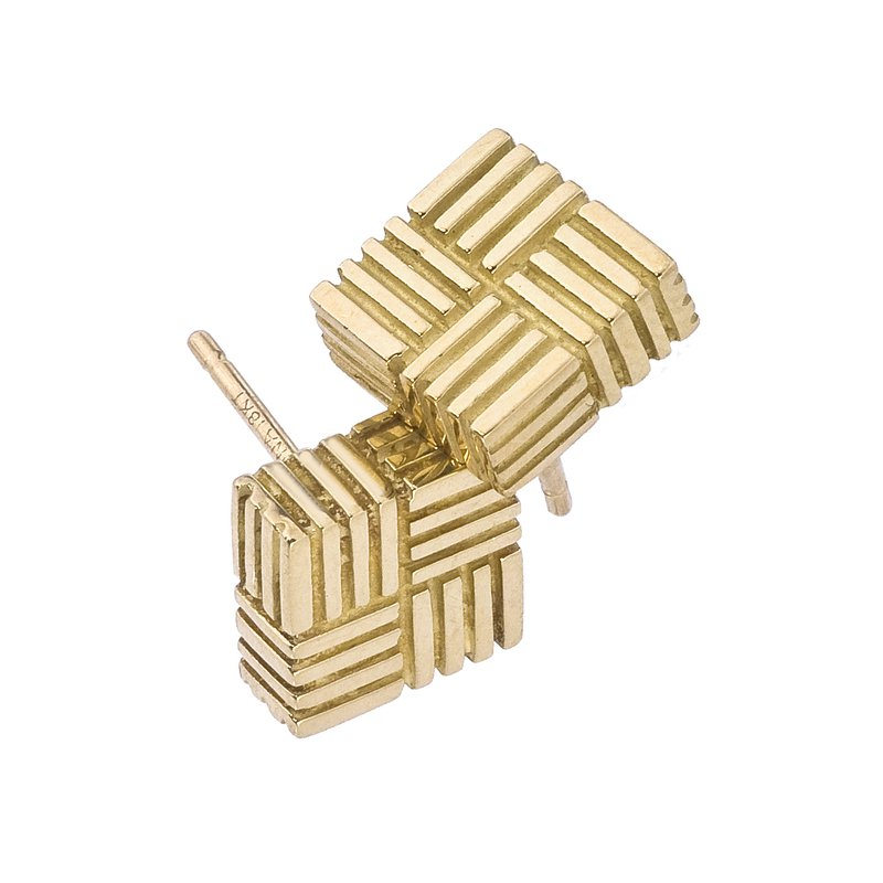Parquet Square Stud Earrings