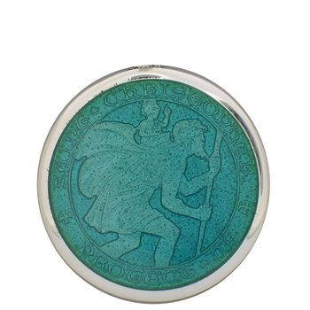Aqua Large St. Christopher Medal