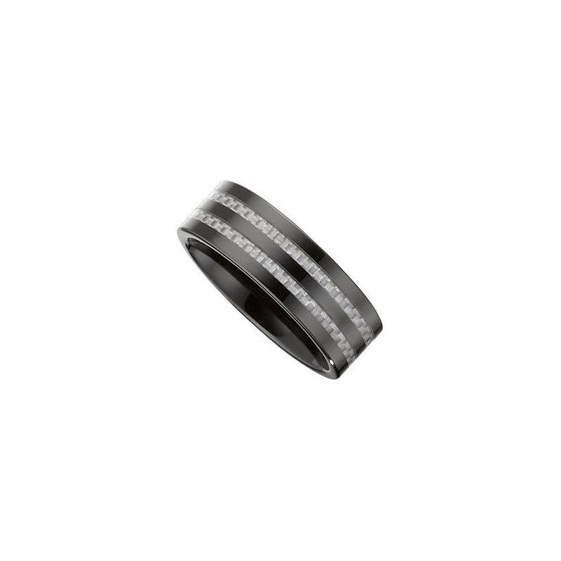 Black Ceramic Band with Carbon Fiber Inlay