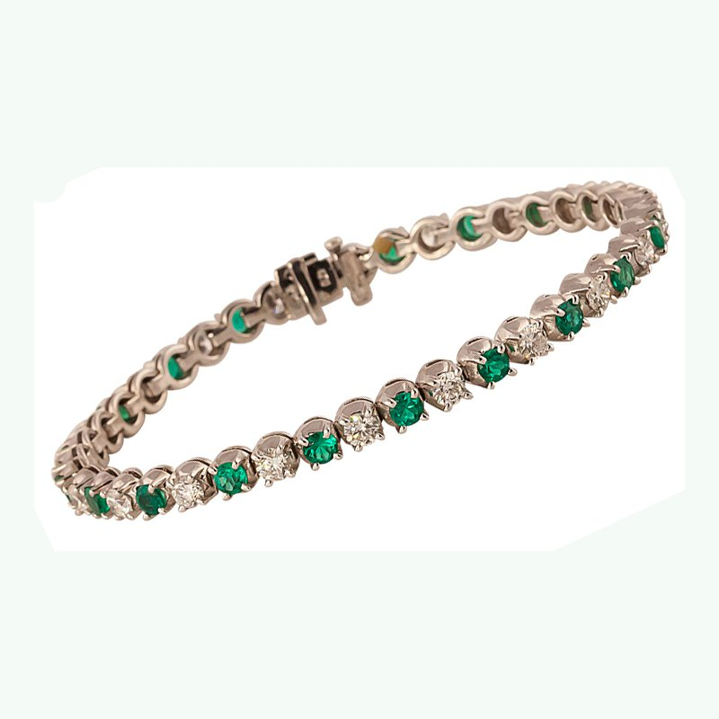 Emerald and Diamond Line Bracelet