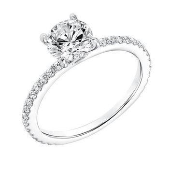 Diamond Prong Set Engagement Ring with Diamond Shank