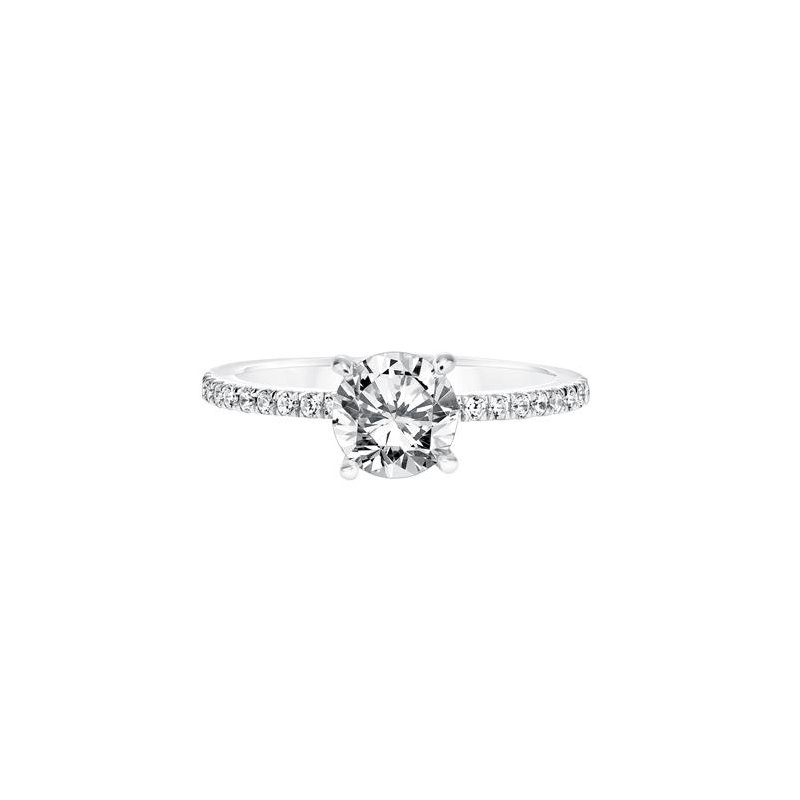 Diamond Prong Set Engagement Ring with Diamond Shank