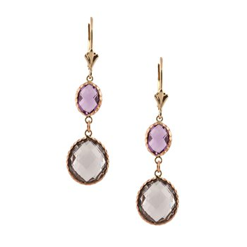 Presiolite and Amethyst Drop Earring