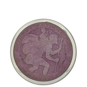 Lavender Large St. Christopher Medal