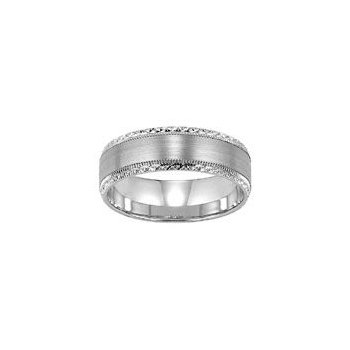White Gold Wedding Band with Engraving