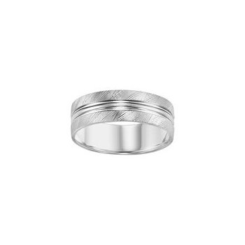 White Gold Cross Cut Finish Wedding Band
