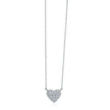 Platinum & Diamond Pave Heart Necklace