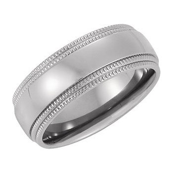 Titanium Double Milgrain Edge Band