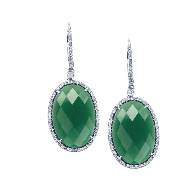 Green Agate and Diamond Earrings