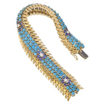 Estate Turquoise,Sapphire and Diamond Bracelet