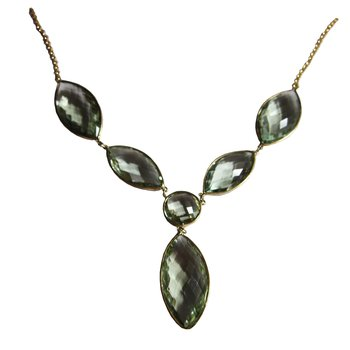 Faceted Green Amethyst Necklace